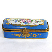 Blue Paris Limoges hand painted, signed trinket box