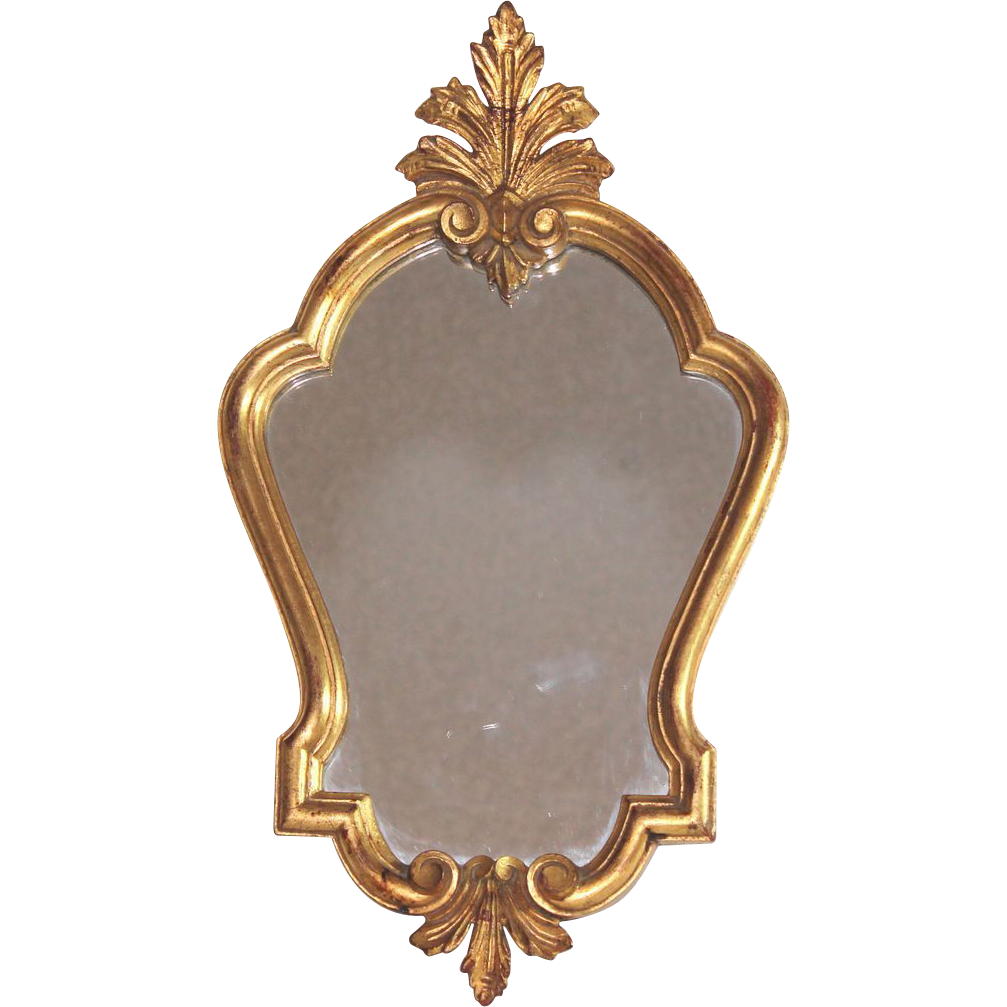 Antique french gilded wood louis xv mirror from for French mirror