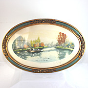 French country water color painting of river fishing in oval frame
