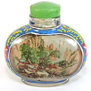 Antique Chinese reverse painted signed snuff, perfume bottle, glass stopper