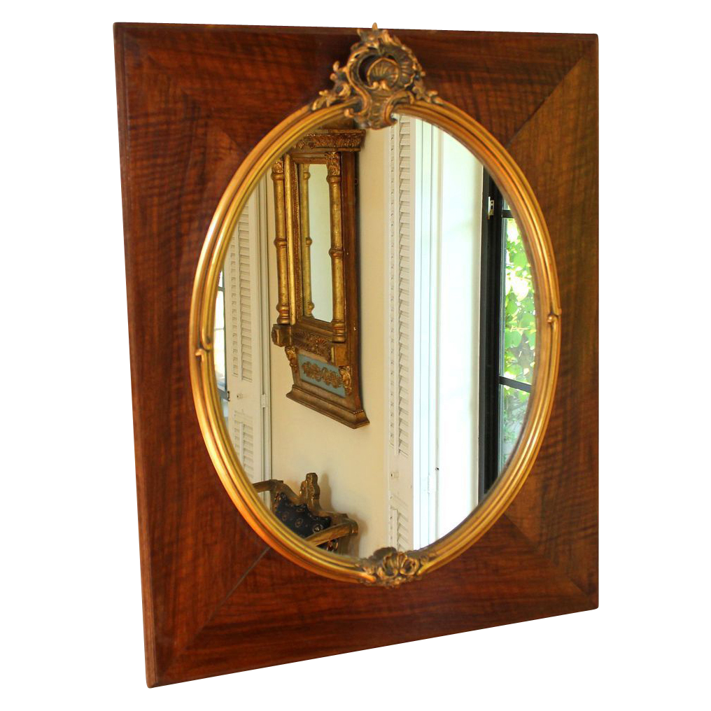 Antique french chestnut and gold gesso mirror style of for Old style mirror