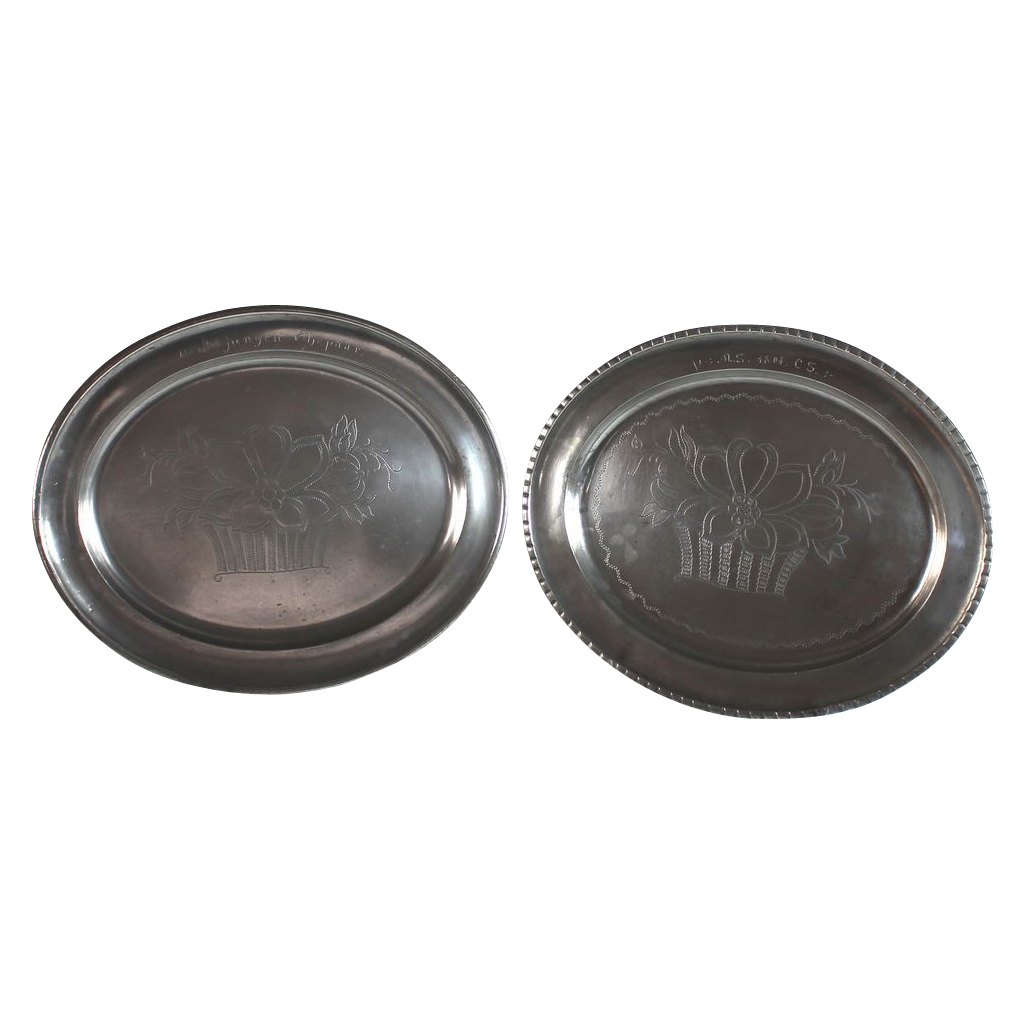 Antique Pewter Plates : Pair of antique german pewter wedding plates dated