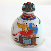 Early Glass hand painted Chinese snuff, perfume bottle, signed B