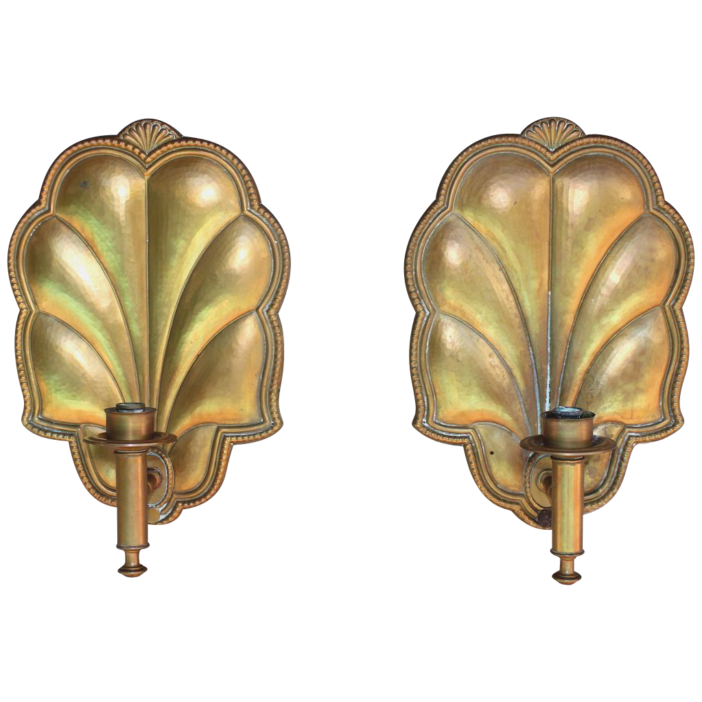 Antique French Wall Sconces : Pair of Antique French wall sconces, gilded copper from julietjonesvintage on Ruby Lane