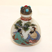 Early Glass hand painted Chinese snuff, perfume bottle, signed C