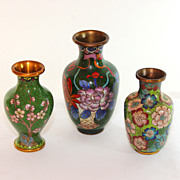 Group of three small antique Chinese cloisonné vases