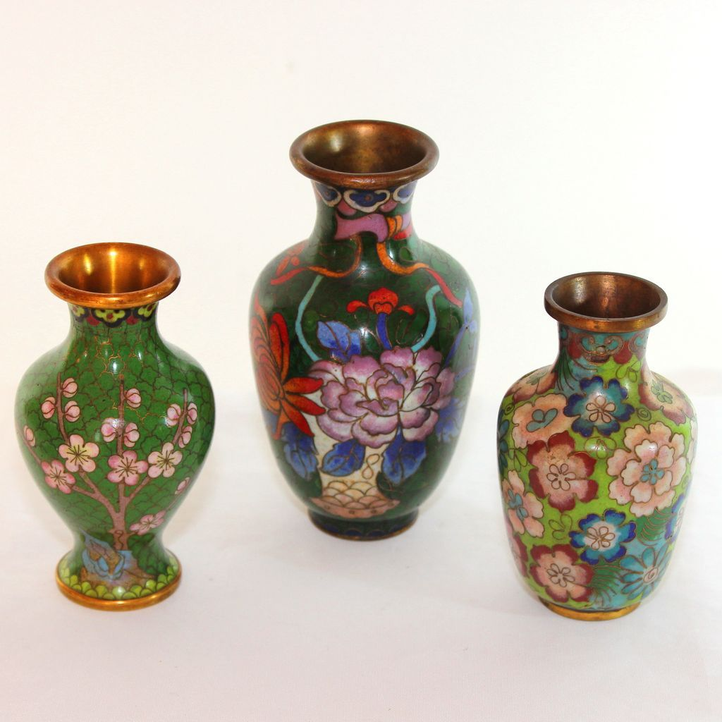 Group of three small antique chinese cloisonn vases sold ruby lane reviewsmspy