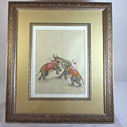 Vintage Moghul, Mughal painting of two elephants fighting