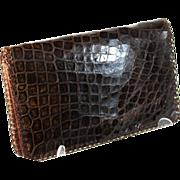 Vintage French brown alligator fold over clutch, evening bag, pocket book