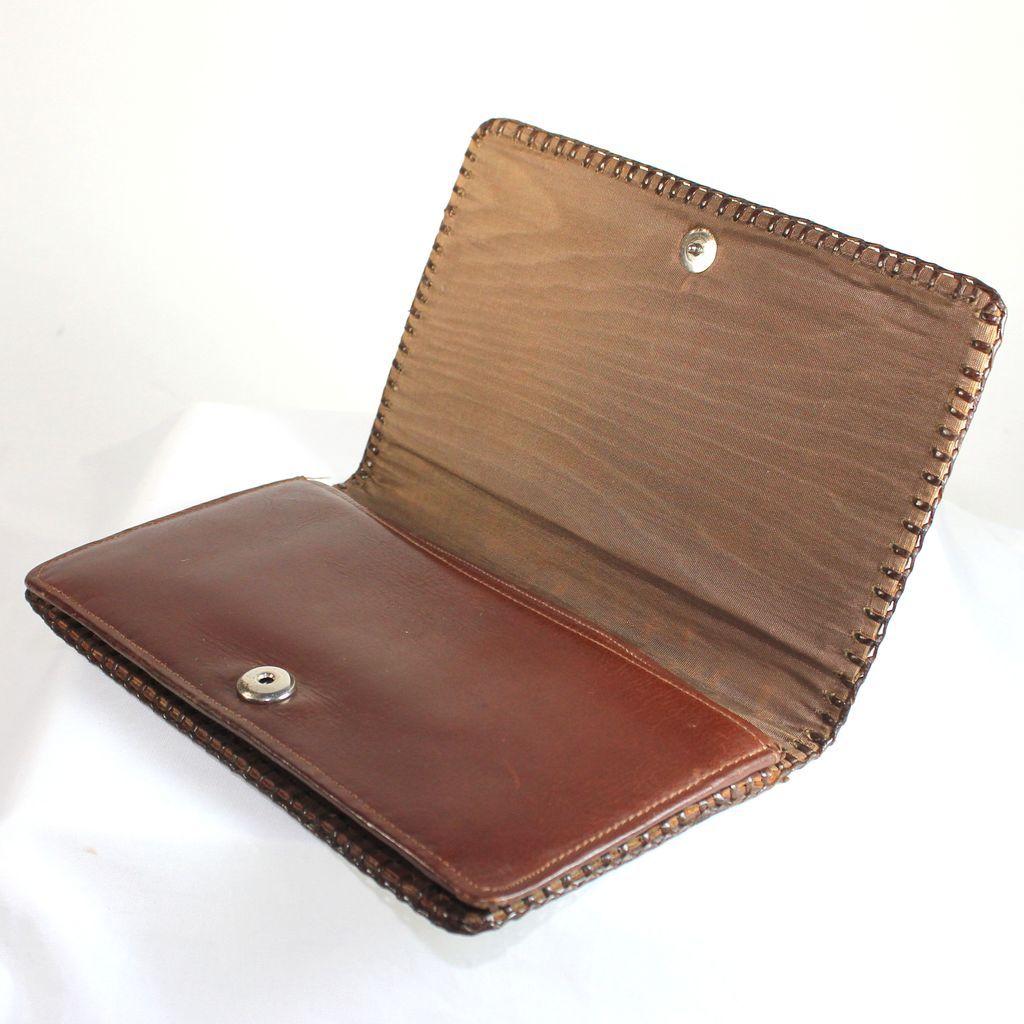 Vintage French brown alligator fold over clutch, evening bag ...