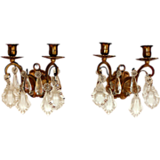 Pair of Antique French gilded bronze sconces with beveled crystals