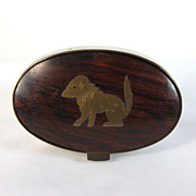 Unique hand carved wood wooden trinket box with primitive dog