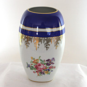 Large Rosenthal Blue white vase, JKW etched gold decoration