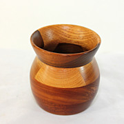 Beautiful hand carved signed treenware vase, mahogany, oak and walnut