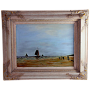 Dutch Seascape Oil Painting of Fishing Vessels