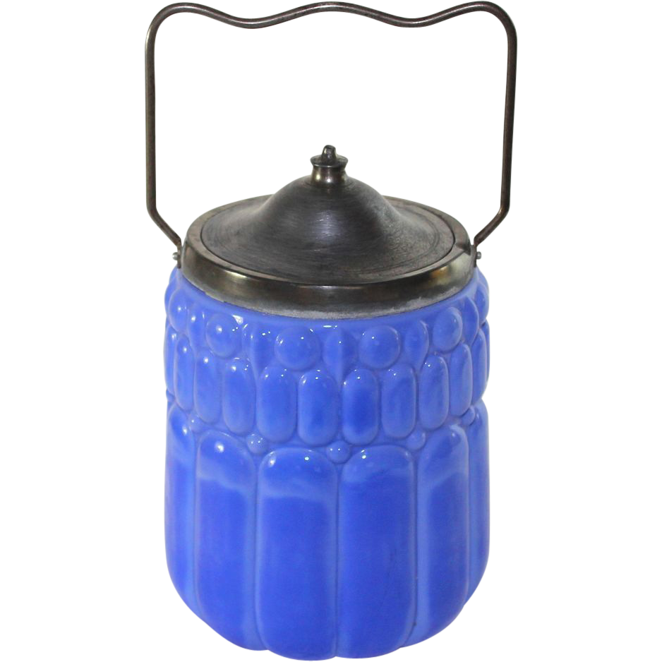 Unique antique French opaque blue glass biscuit jar