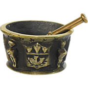 Antique French bronze mortar, pestle, 19th c, heraldic