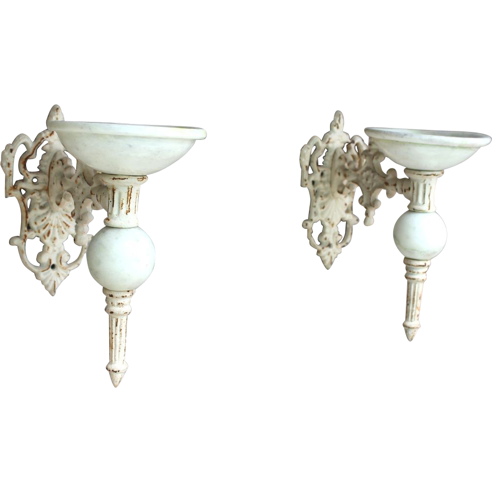 Vintage Cast Iron Candle Sconces with Marble cups and accents
