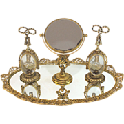 Guildcrest 24K Gold plated Mirrored Vanity Plateau with Perfume bottles and Mirror