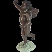 "Vintage bronze Cherub Sculpture on a bronze base 17"" tall"