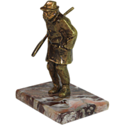 Bronze Miniature Sculpture on Marble Base of a Man with a Shovel