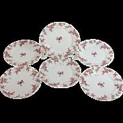 """Set of six Limoges Pink Roses desert/salad plates 7 ¼"""""""