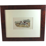 Hand-painted Engraving of a Pointer in Burl Veneer Frame, 1808
