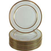 Antique Minton for Tiffany New York Raised Gold Band Porcelain Dinner Plates Set of 10