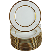 Antique Mintons Davis Collamore & Co Gold Band Porcelain Bread Plates Set of 12 plus one