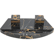 Art Deco Style Black Marble Double Inkwell
