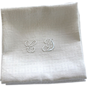 Antique French Linen Monogrammed Napkins, Set of Six