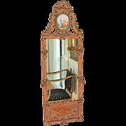 Gilt-wood Louis XVI Style Mirror with Ceramic Cartouche B