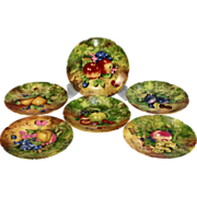 Rochard Limoges Bread & Butter Tropical Fruits Plates Set of 6