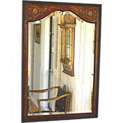 Antique Inlaid Wood Edwardian Beveled Mirror