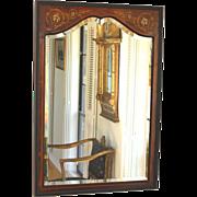 Antique Inlaid Wood Edwardian Beveled Mirror