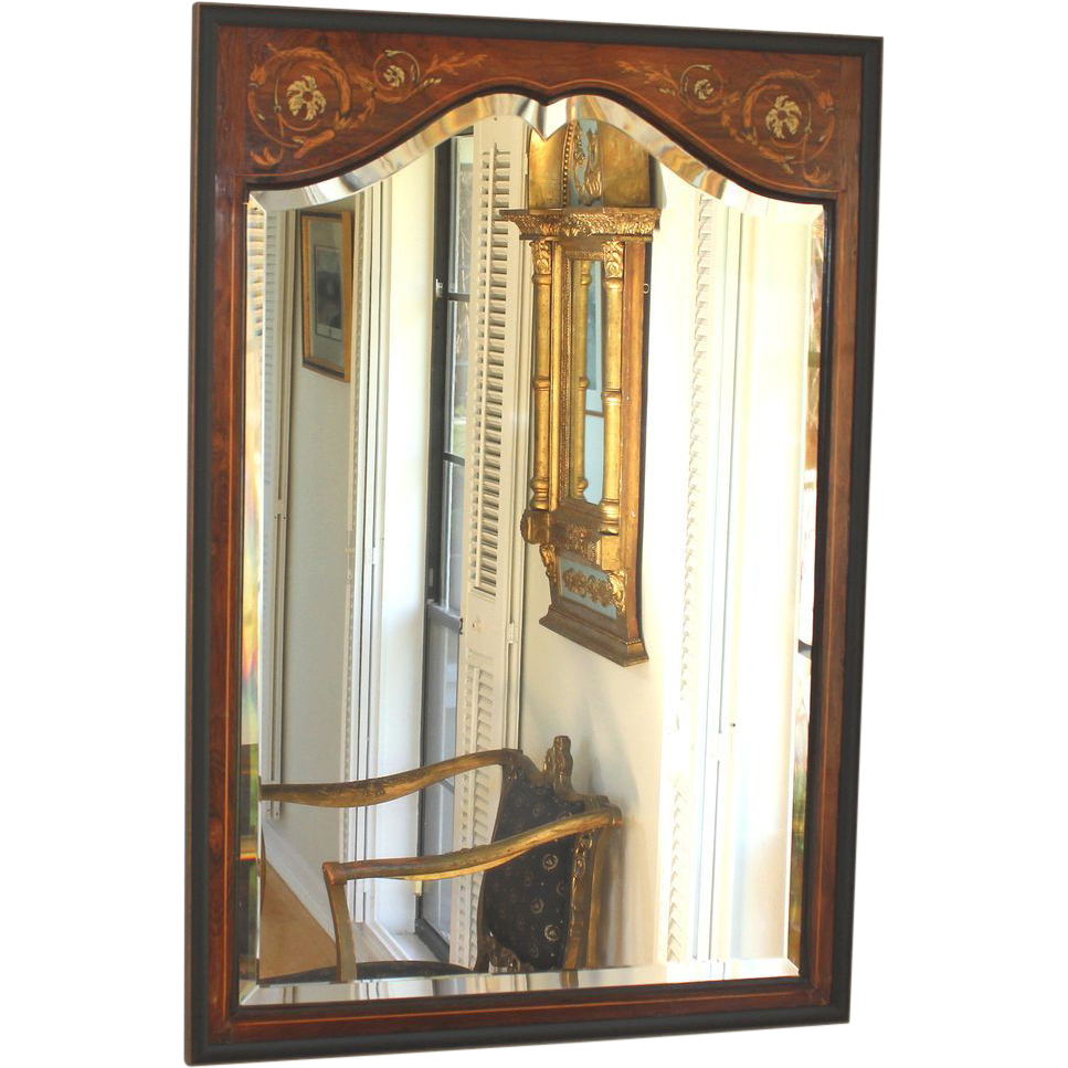 Antique inlaid wood edwardian beveled mirror from for Beveled mirror