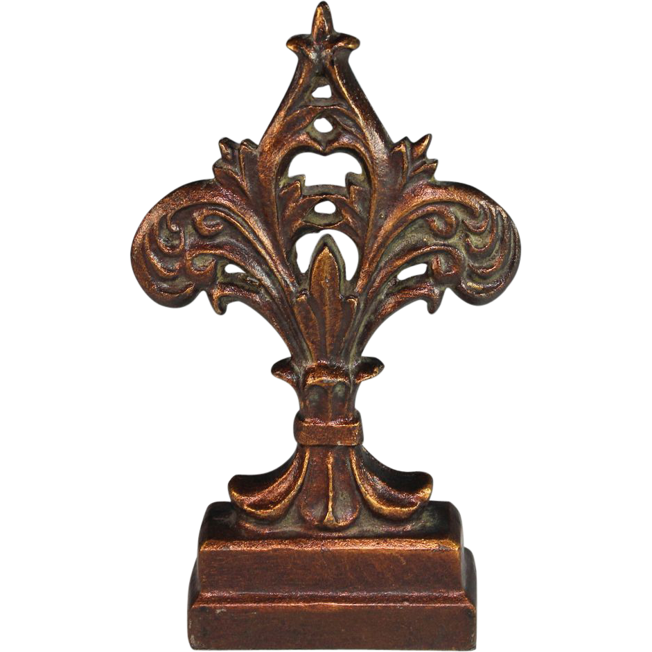 Antique Cast Iron ~ Antique cast iron doorstop door stop fleur de lis from
