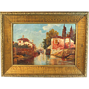 Oil on canvas  19th Century Painting of an Italian River Scene