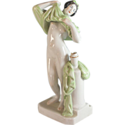 Zsolnay Figurine of an Undressing Young Woman, Signed, Hand Painted