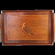 Vintage Inlaid Wood Serving Tray Quail