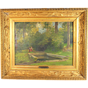 "Oil Painting titled "" Lavoir a  Chaville "" by French listed artist Charles August Corbineau (1835-1901)"