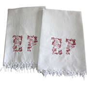 Pair of Monogrammed French Linen Towels, E P Very Unique