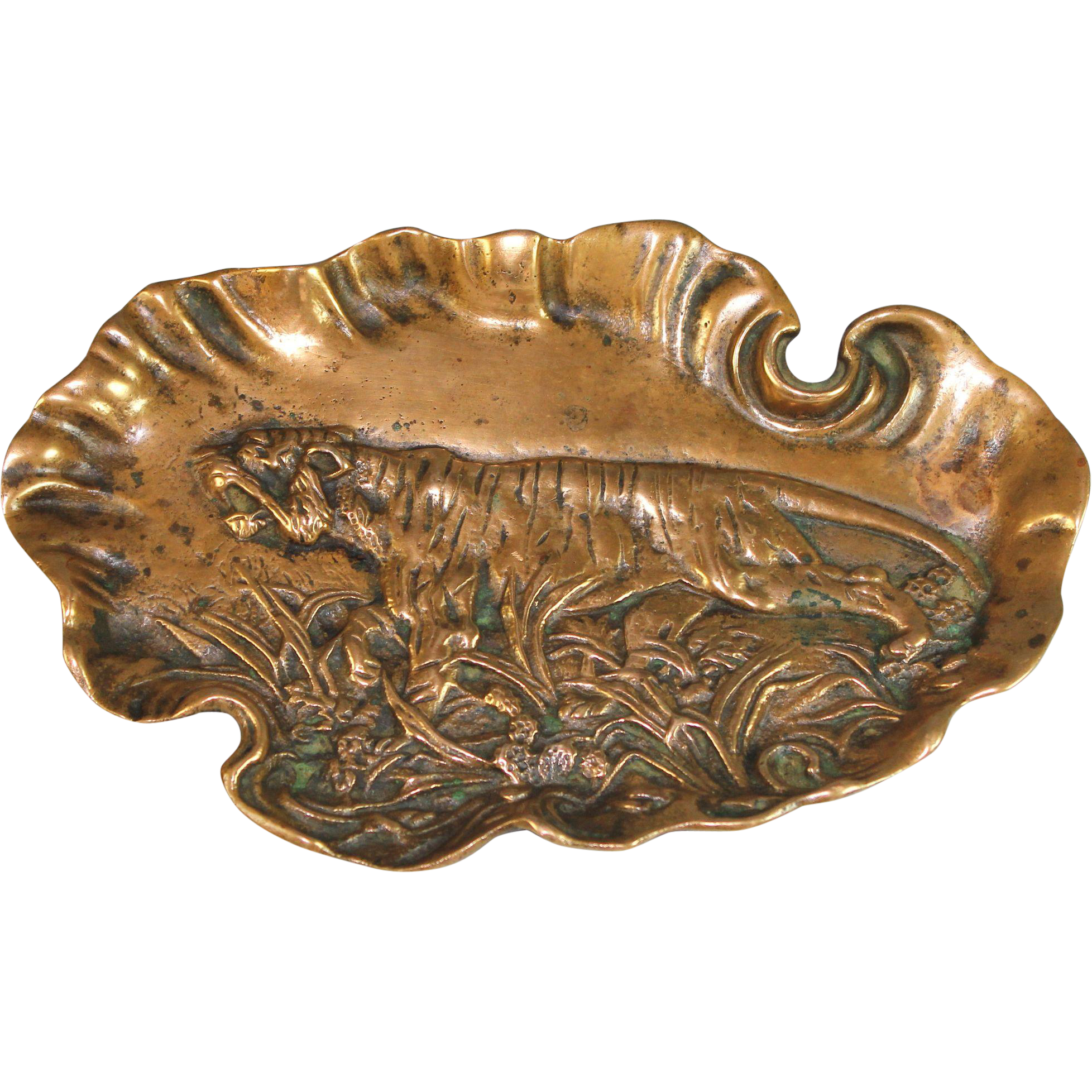 antique bronze vide poche coin dish depicting a tiger from julietjonesvintage on ruby lane. Black Bedroom Furniture Sets. Home Design Ideas