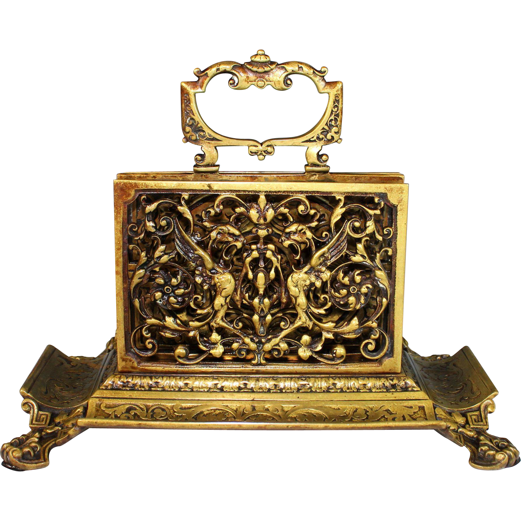 Antique bronze letter holder pen rest with griffins sold for Antique letters