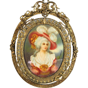 Hand Painted Miniature Portrait Gilt Bronze Filigree Frame Duchess of Devonshire