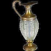 Venetian Glass and Silverplate Claret Jug Wine Decanter