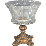 Vintage Bronzed Metal and Cut Glass Centerpiece