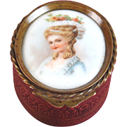 Antique French Trinket Pill Box Casket with Miniature Portrait