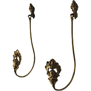 Pair of Antique Gilded Bronze Drapery Curtain Tie Backs, Tiebacks