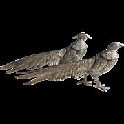 Pair of Vintage Silver Plate Pheasants Table display Silverplate